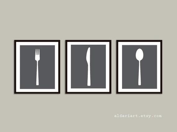 Fork Knife Spoon Art Prints, Kitchen Wall Art, Kitchen Decor, Custom Color,  Frame not included, Aldari Art