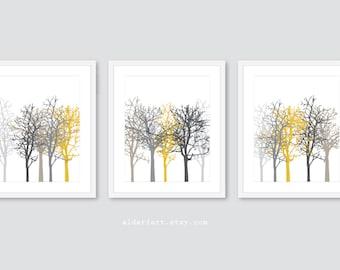 Tree Art Prints, Tree Wall Art, Set of 3 prints, Winter Trees Wall Art, Contemporary Woodland Decor, Mustard Yellow Grey Taupe