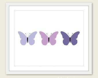 Butterflies Art Print - Purple Violet -  Spring Summer Decor - Wall Art - Under 20