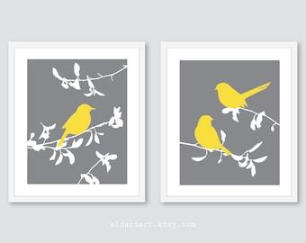 Bird Art Prints, Bird wall decor, set of 2 modern birds on branches prints, bathroom or bedroom decor, yellow grey decor, CHOOSE YOUR COLORS