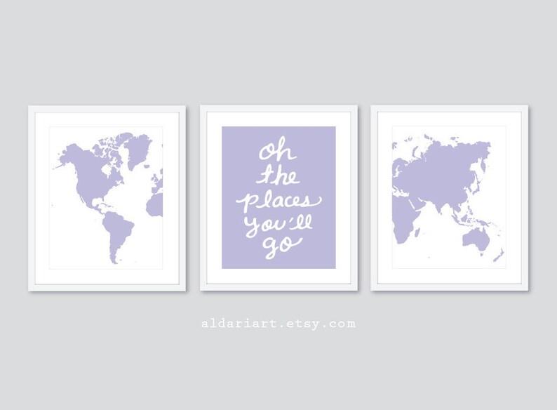 Set of 3 Prints Pastel Peach Decor Travel Nursery Art Prints World Map Prints Modern Nursery Decor Oh The Places You/'ll Go Quote