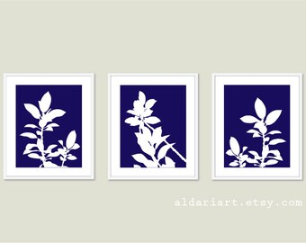 Botanical Print Set - Navy Blue and White Plants - Modern Home Decor - Botanical Wall Art - Spring Decor