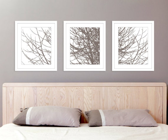 Modern Tree Branches Art Prints Set of 3 prints Taupe | Etsy