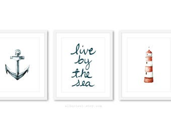 Seahorse Print , Starfish print , Nautical Print, live by the sea print, set of 3 prints, 5x7 or 8x10, nautical decor, nautical wall art