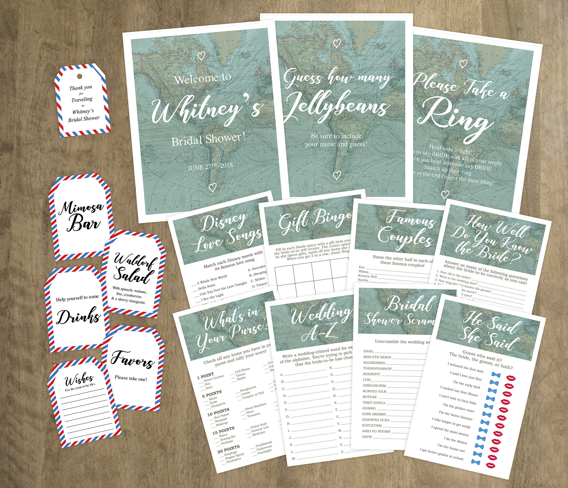 Travel theme Bridal Shower Signage, Games & Party Favor Tag Printable Pack