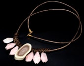 LP 1539 Royal Imperial Jasper With Egg Pattern, Pink Peruvian Opal Nuggets, Natural Brass And Leather Necklace