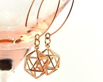LP  1500  18K Rose Gold Plated 3D Wire Icosahedron Earrings