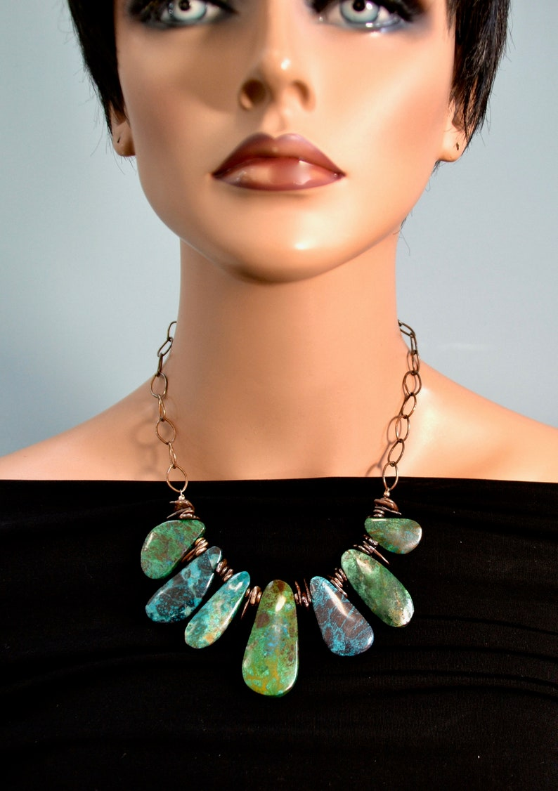 Out LP 1694  Elongated Chrysocolla Gemstone And Copper Over Sterling Silver Nugget Necklace National Stone Of Israel