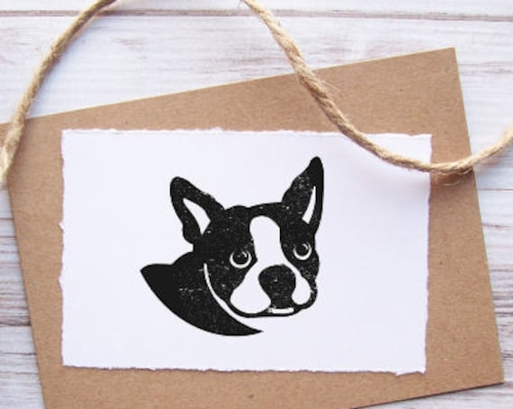 Boston Terrier Dog Stamp - Custom Pet Portrait Stamp