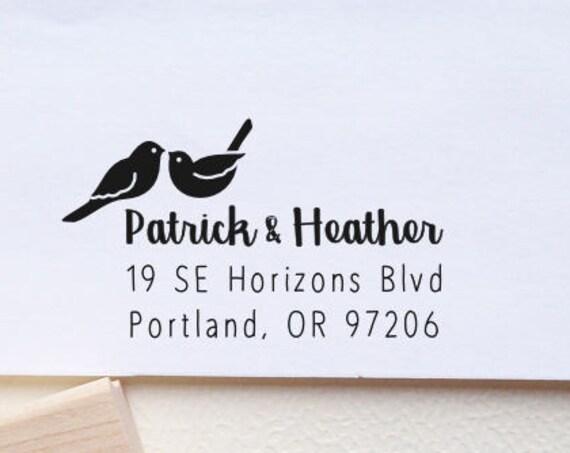 Return Address Stamp Love Birds, Weddings, Kissing Birds, Custom Stamp