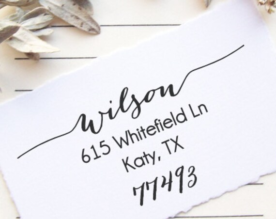 Return Address Stamp Calligraphy Script , Weddings , Invitations , Save the Dates, Housewarming