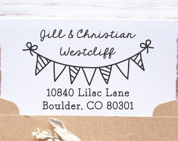 Custom Return Address Stamp - Bunting Banner, Party Flags, Wedding