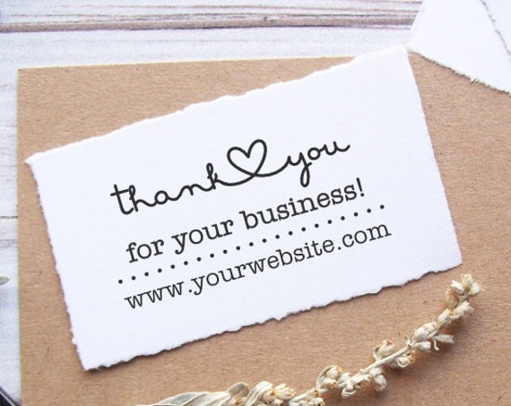 Thank You Stamp with Website - Custom Business Rubber Stamp - Connecting Heart