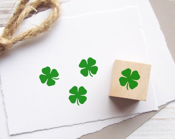 Shamrock Stamp, Four Leaf Clover Rubber Stamp St. Patricks Day