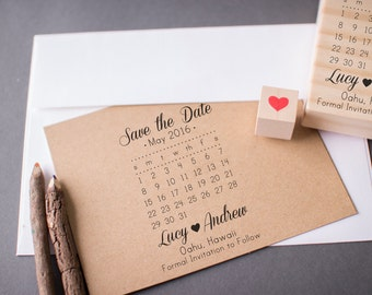 Save The Date Calendar Stamp With Heart Custom Wedding