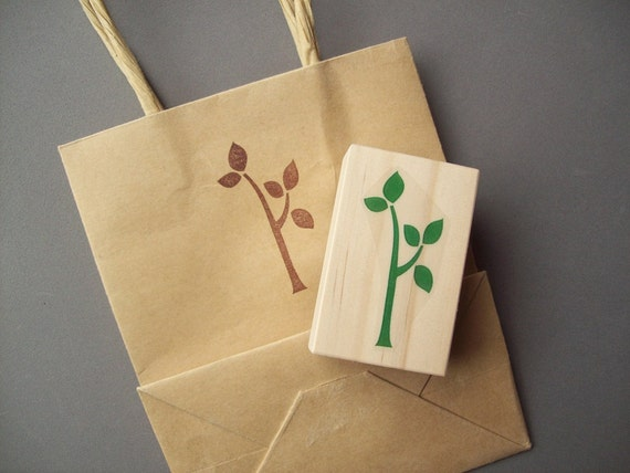 Tree Rubber Stamp - Spring Branch Nature Leaves Easter - Great for Seed Packets, Garden Markers