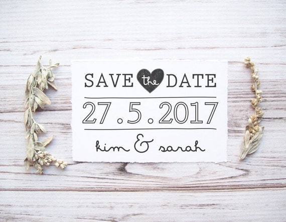 Save The Date Stamp Custom Wedding With Names