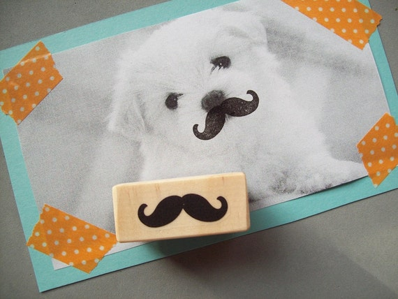 Mustache Rubber Stamp , Favors Dad Handlebar Moustache Theme