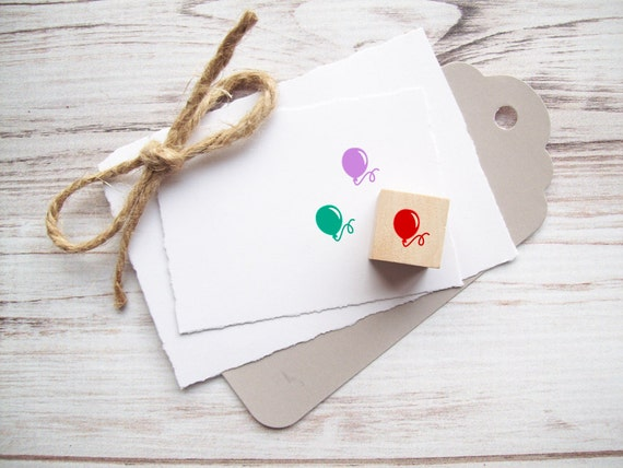 Mini Balloon Rubber Stamp 1/2 inch Happy Birthday Stamp