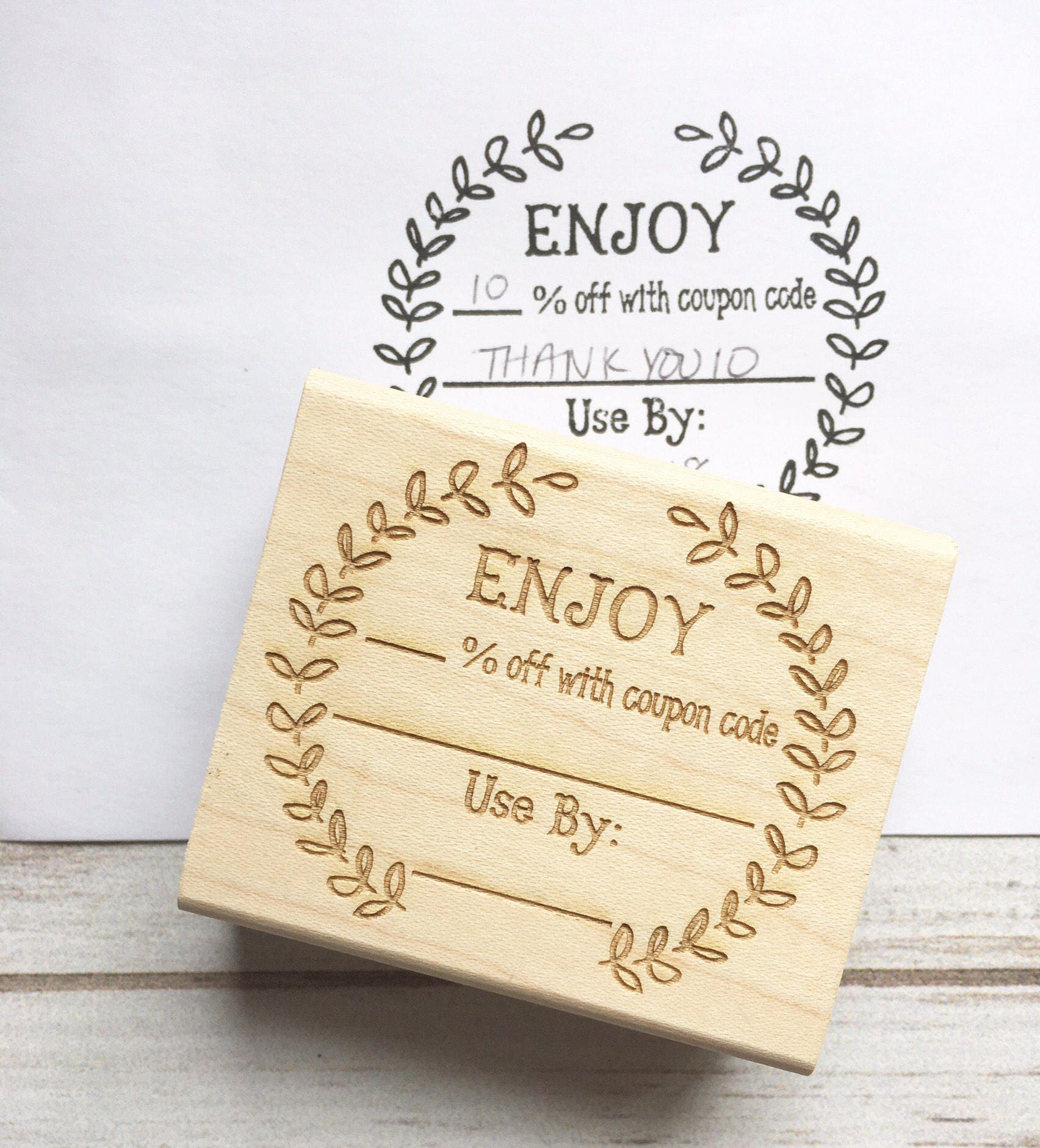 Coupon Code Stamp Enjoy Discount Promo Sale Custom Rubber Etsy