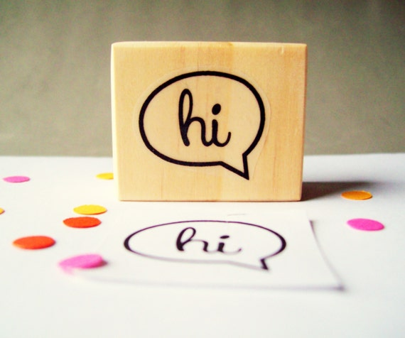 Hi Speech Bubble Rubber Stamp, Hello Stamp