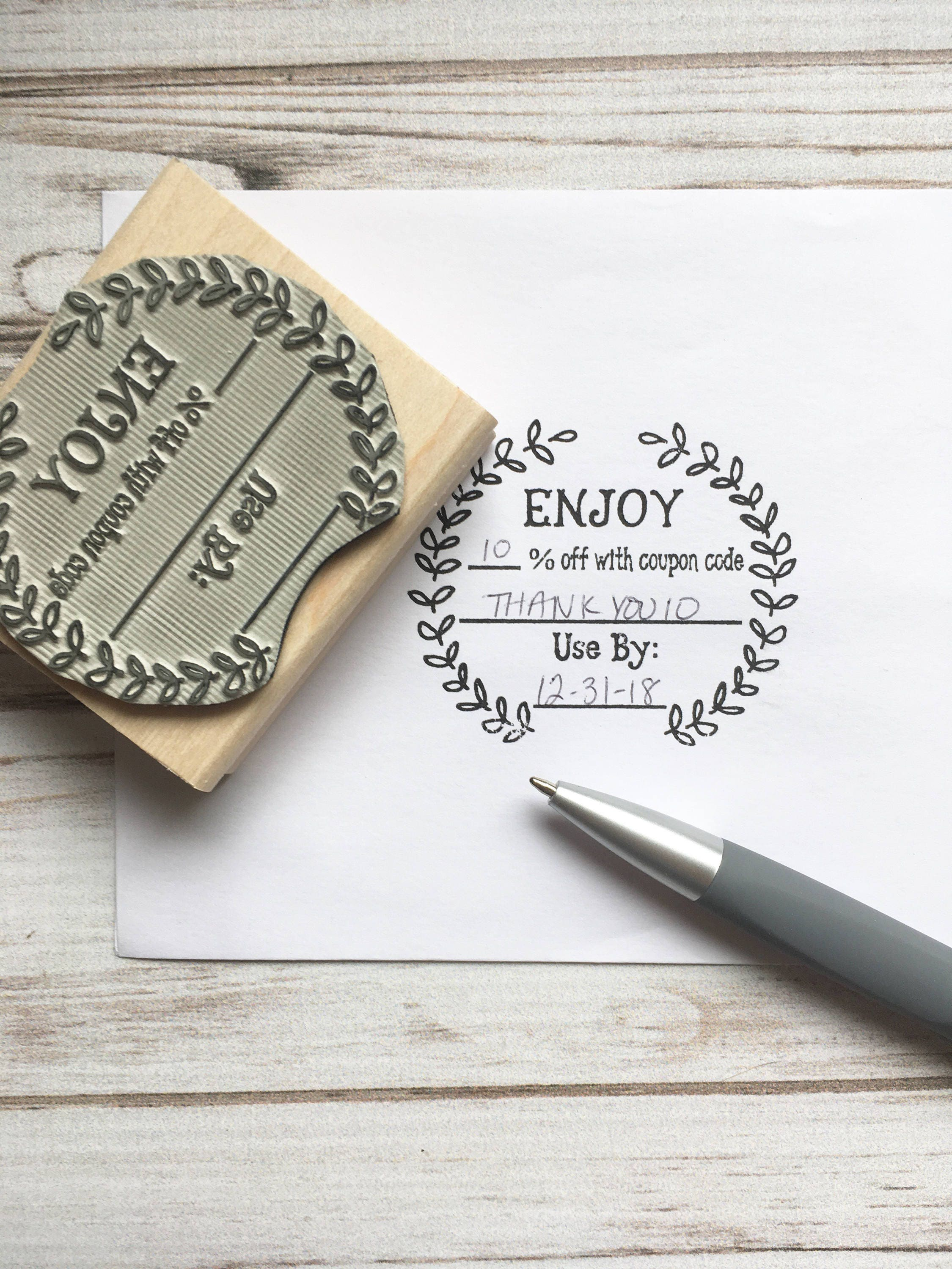 Coupon Code Stamp , Enjoy Discount Promo Sale Custom Rubber Stamp ...