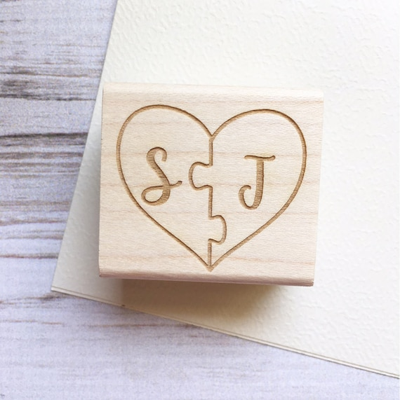 Puzzle Piece Wedding Stamp Initials Heart Shape - Custom Wedding Stamp
