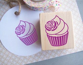 Cupcake Stamp with Rose, Birthday Parties, Tea Parties