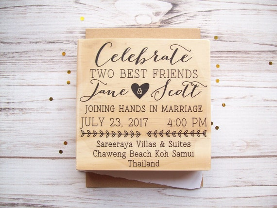 Wedding Invitation Stamp - Custom Invite Rubber Stamp Personalized Wedding