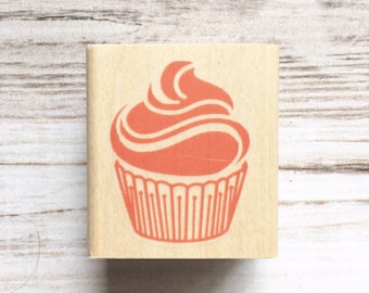 Cupcake Rubber Stamp, Cute for Birthday Parties, Cupcake Toppers