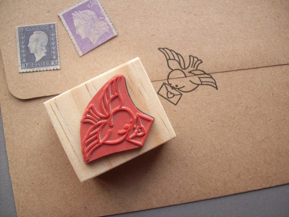 Air Mail Rubber Stamp, Bird Carrying Letter, Snail Mail, Flying Bird Special Delivery