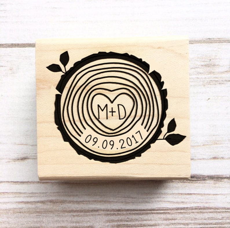 Wedding Stamp Wood Slice Initials And Date Woodsy