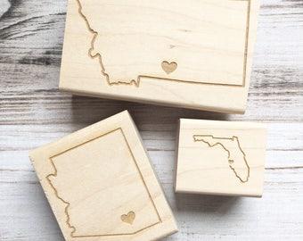 USA State Stamp Heart Over Your City California Oregon Michigan Florida Texas Montana New York ANY State
