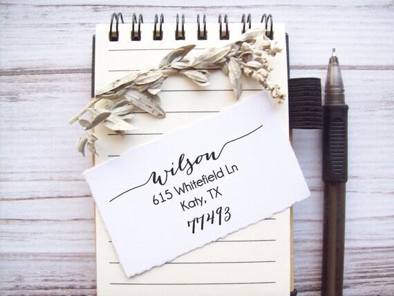 Return Address Stamp Calligraphy Script , Weddings , Invitations , Save the Dates, Housewarming