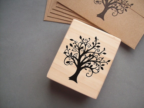 Tree Stamp - Swirly Woodland Family Tree Rubber Stamp