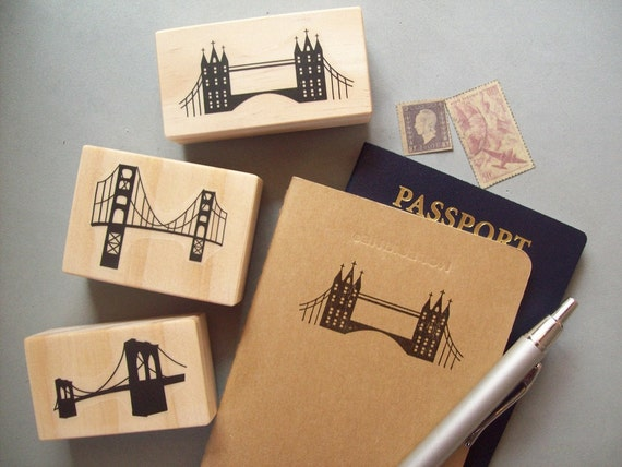 Bridge Stamp - London Bridge Golden Gate Bay Bridge Brooklyn - Travel Skyline Silhouette Destination Wedding Vacation Rubber Stamp