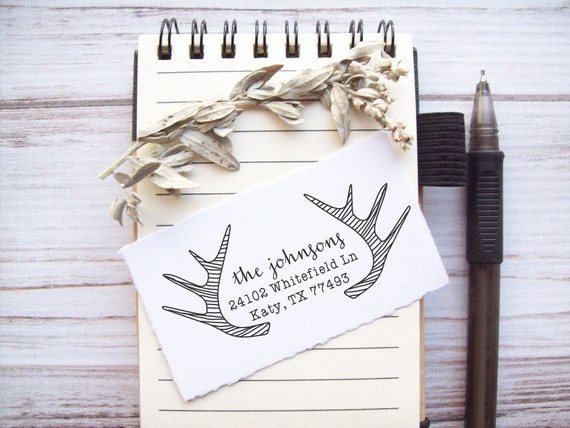 Return Address Stamp Antlers - Custom Rubber Stamp - Deer Horns Rustic Woodland Wedding