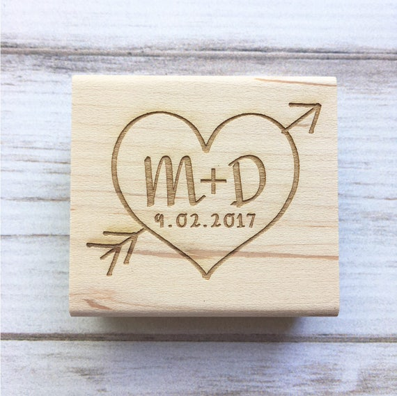 Wedding Stamp Heart Arrow Initials And Date Save The