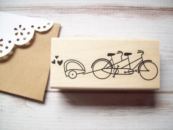 Tandem Bicycle Stamp with Baby Trailer