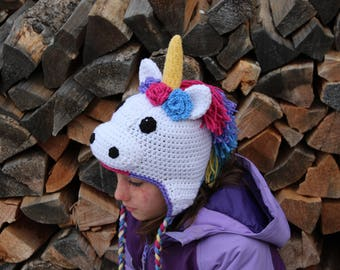 Unicorn Hat pdf PATTERN (digital download), crochet, newborn - adult sizes, photo prop, animal hat pattern, earflap hat
