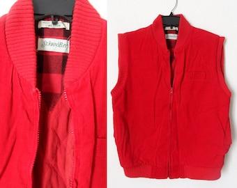 93a8e0a3c8 90er Jahre rot Cord isoliert Zip Up Weste mit Taschen Holzfäller Streetwear  Größe Medium