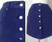 Vintage Navy Button Down Highwaist Bum Mini Skort Skirt Hipster Preppy Classic 28 inch Waist