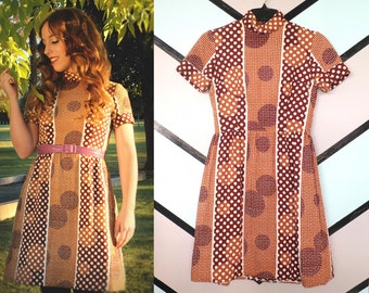 60s 70s Mod Brown Polka Dot Color Blocked Dress with Mock Turtleneck and Pockets Retro Kitsch Size Small