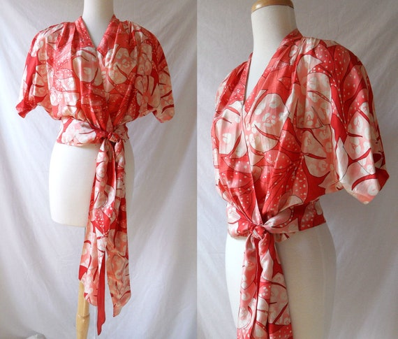 80s Orange Silk Tropical Print Cropped Wrap Blouse