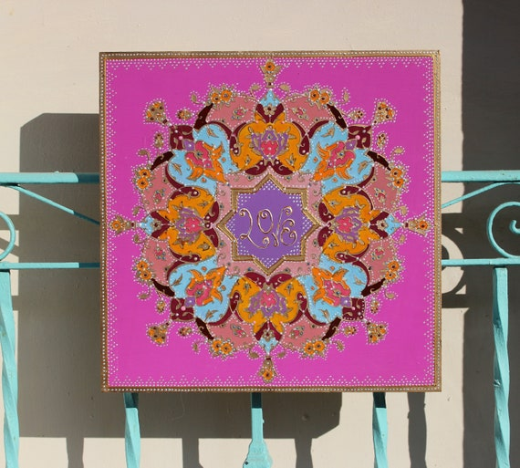 love mandala, wedding gift, yoga gift, mandala art, geometric art, sacred  geometry art, wall mandala, meditation art, meditation gift