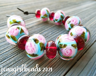 Watercolor Roses Lampwork Bead Set