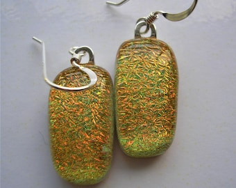 Golden Glitter Earrings, Fused Dichroic Glass, 925 Sterling Silver Earwires, Jelly Bean Shaped, Gold with Green Undertones, Dangle Earrings