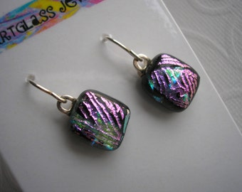 Earrings Dichroic Glass Petite Black with Pink Accent Lines Fused Glass Jewelry Small Earrings Lightweight Sterling Earwires Dangles Dichro