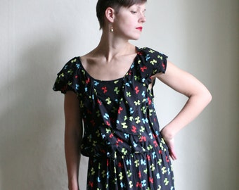 SUPER SALE - Black Ruffled summer dress, short sleeve elastic waist Dress with Colorful red green yellow ribbon print