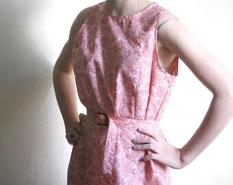 SUPER SALE - Pink Scenery print mod dress Soviet vintage Blush unworn Vintage Party, Prom dress size S-M with Cavemen print